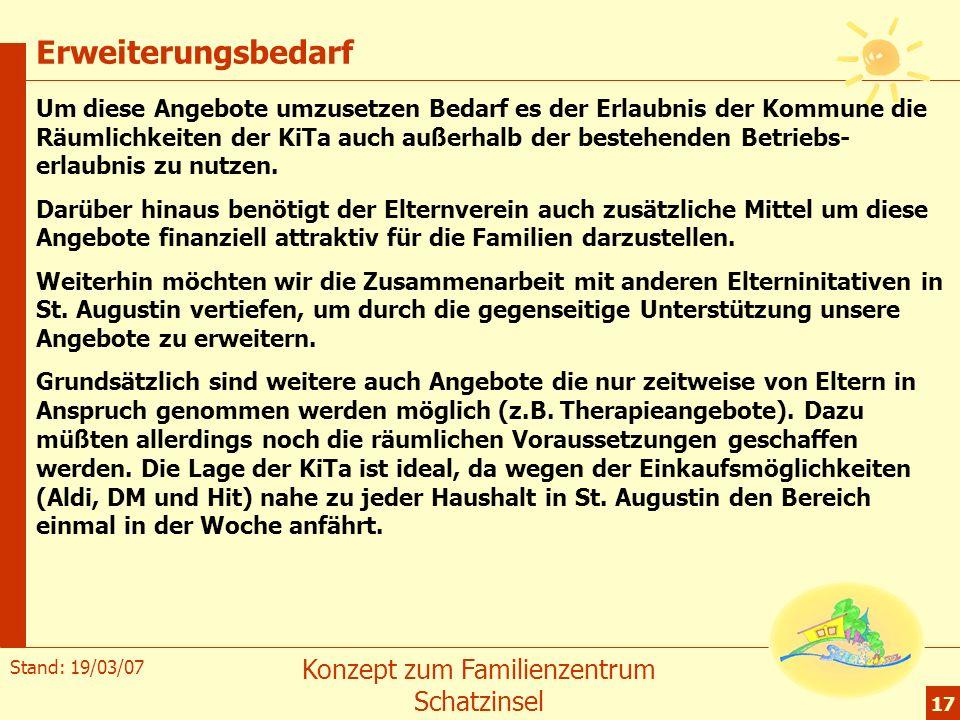 Stand: 19/03/07 Konzept zum Familienzentrum Schatzinsel 17 Erweiterungsbedarf Um diese Angebote umzusetzen Bedarf es der Erlaubnis der Kommune die Räu