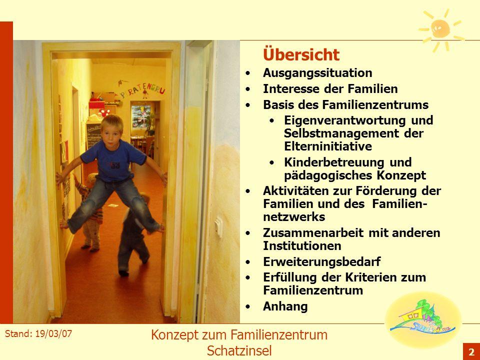 Stand: 19/03/07 Konzept zum Familienzentrum Schatzinsel 2 Übersicht Ausgangssituation Interesse der Familien Basis des Familienzentrums Eigenverantwor