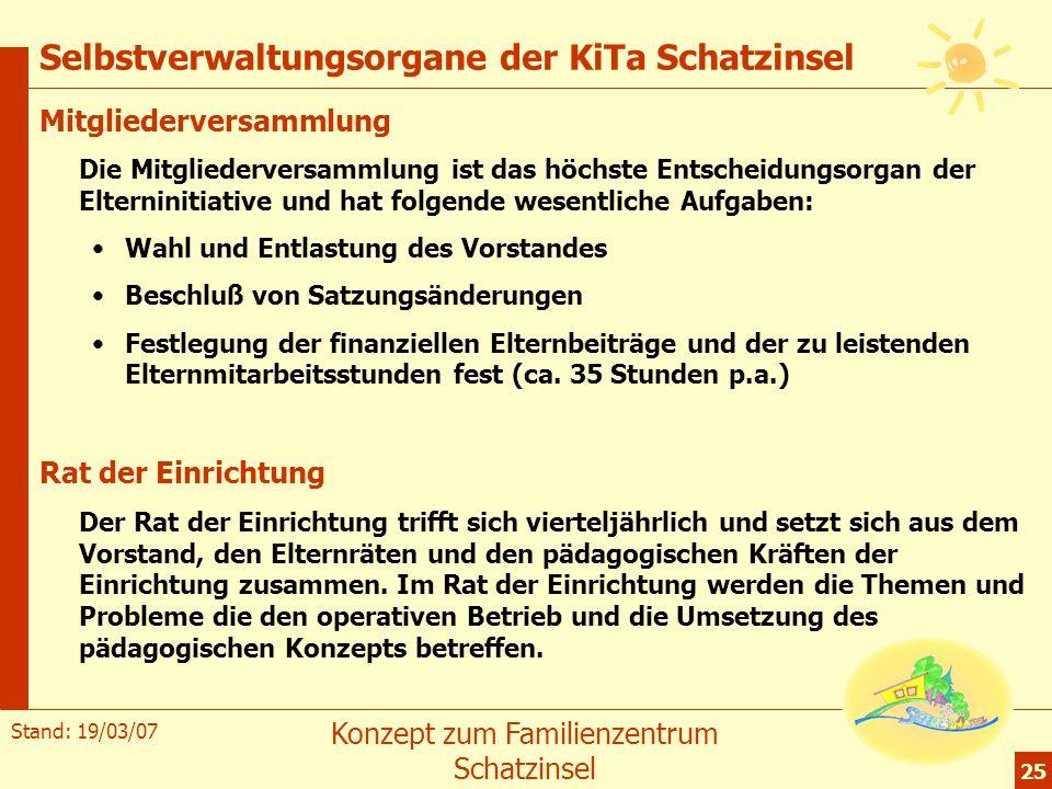 Stand: 19/03/07 Konzept zum Familienzentrum Schatzinsel 25 Selbstverwaltungsorgane der KiTa Schatzinsel Mitgliederversammlung Die Mitgliederversammlun