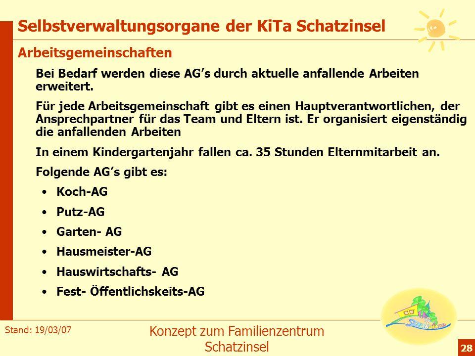 Stand: 19/03/07 Konzept zum Familienzentrum Schatzinsel 28 Selbstverwaltungsorgane der KiTa Schatzinsel Arbeitsgemeinschaften Bei Bedarf werden diese
