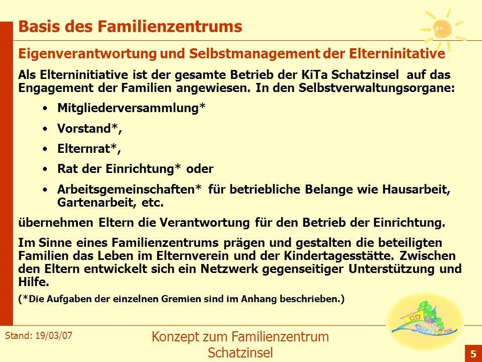 Stand: 19/03/07 Konzept zum Familienzentrum Schatzinsel 5 Basis des Familienzentrums Eigenverantwortung und Selbstmanagement der Elterninitative Als E