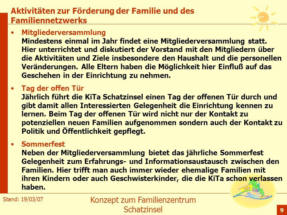 Stand: 19/03/07 Konzept zum Familienzentrum Schatzinsel 9 Aktivitäten zur Förderung der Familie und des Familiennetzwerks Mitgliederversammlung Mindes