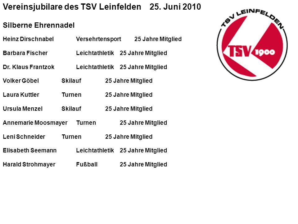 Vereinsjubilare des TSV Leinfelden 25.