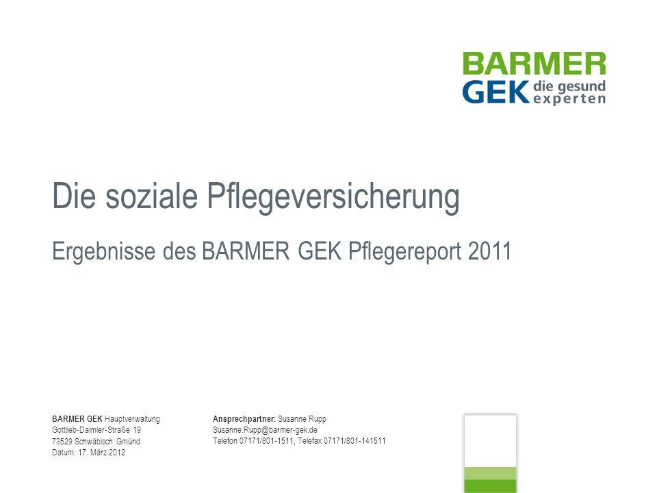 Sachgebiet 40 Grundsatz und Strategie Autor: Rupp 17.03.2012 Seite 12 Ergebnisse BARMER GEK Pflegereport 2011
