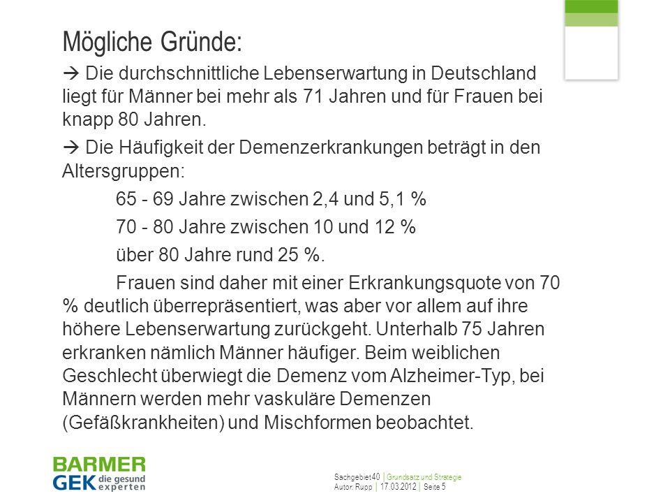 Sachgebiet 40 Grundsatz und Strategie Autor: Rupp 17.03.2012 Seite 6 Demenzformen – Alzheimer Demenz Die senile Demenz vom Alzheimer-Typ ist die häufigste primär degenerative Demenz ungeklärter Ursache.