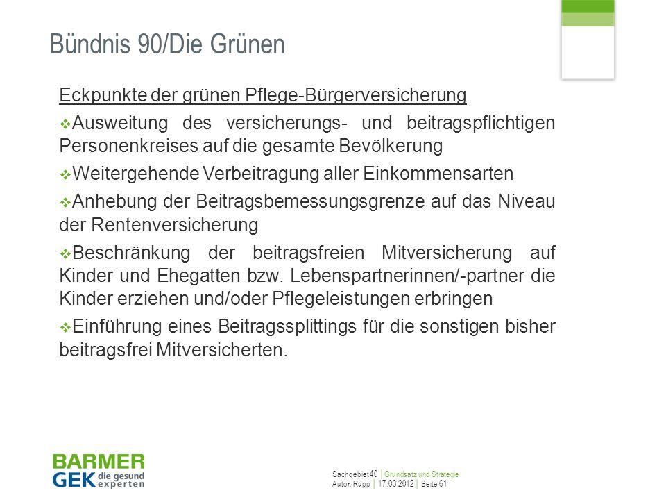 Sachgebiet 40 Grundsatz und Strategie Autor: Rupp 17.03.2012 Seite 61 Bündnis 90/Die Grünen Eckpunkte der grünen Pflege-Bürgerversicherung Ausweitung