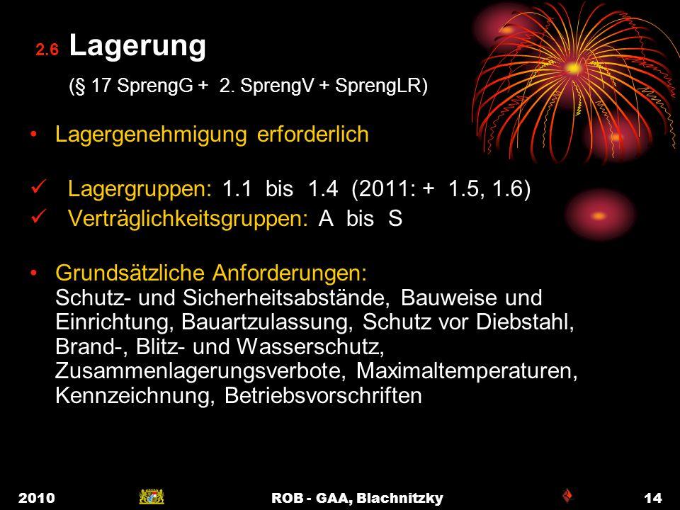 2010ROB - GAA, Blachnitzky14 2.6 Lagerung (§ 17 SprengG + 2. SprengV + SprengLR) Lagergenehmigung erforderlich Lagergruppen: 1.1 bis 1.4 (2011: + 1.5,