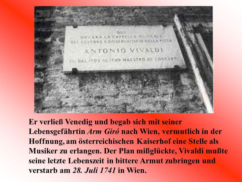 Internet: www.userpage.fu-berlin.de/~history1/bs/vivaldi/vivaldi.htm www.sunsite.univie.ac.at/Classmidi/midi-t-z.html#v Bücher: Handapparat Bücherei Vogelstang Musik: Vivaldi The Four Seasons (The Rose Collection)