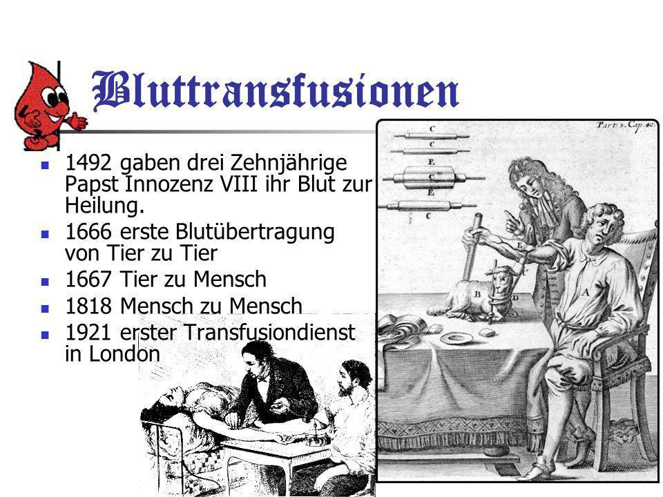 Bluttransfusionen 1492 gaben drei Zehnjährige Papst Innozenz VIII ihr Blut zur Heilung.