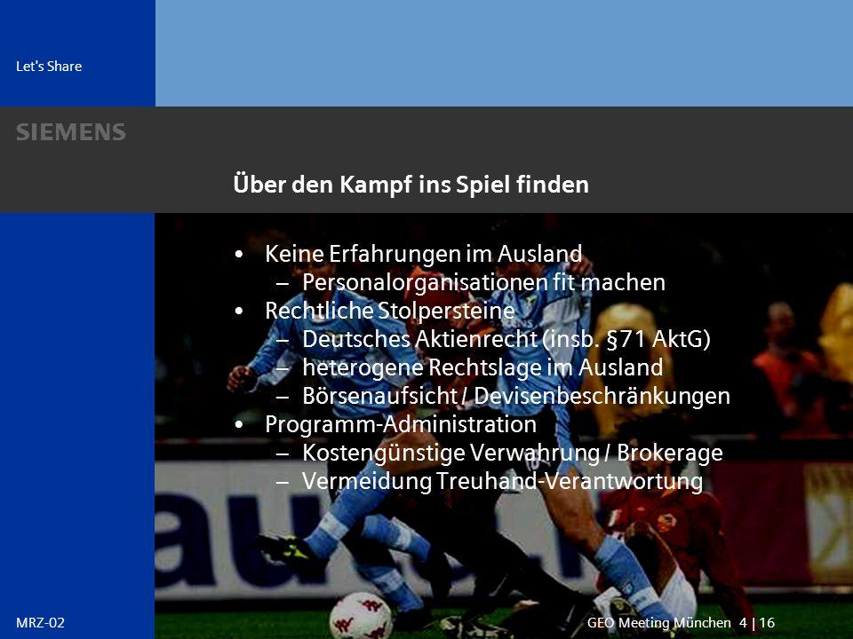 s Let s Share GEO Meeting München 15 | 16MRZ-02 Nach dem Spiel ist vor dem Spiel ?