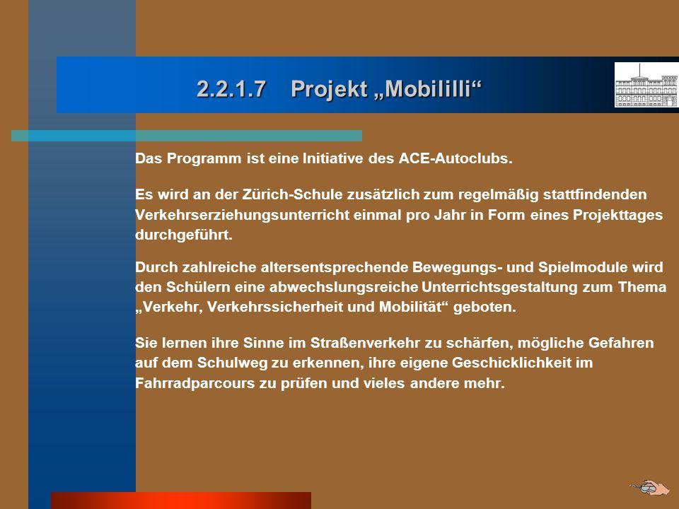 2.2.1.7 Projekt Mobililli Das Programm ist eine Initiative des ACE-Autoclubs. Es wird an der Zürich-Schule zusätzlich zum regelmäßig stattfindenden Ve