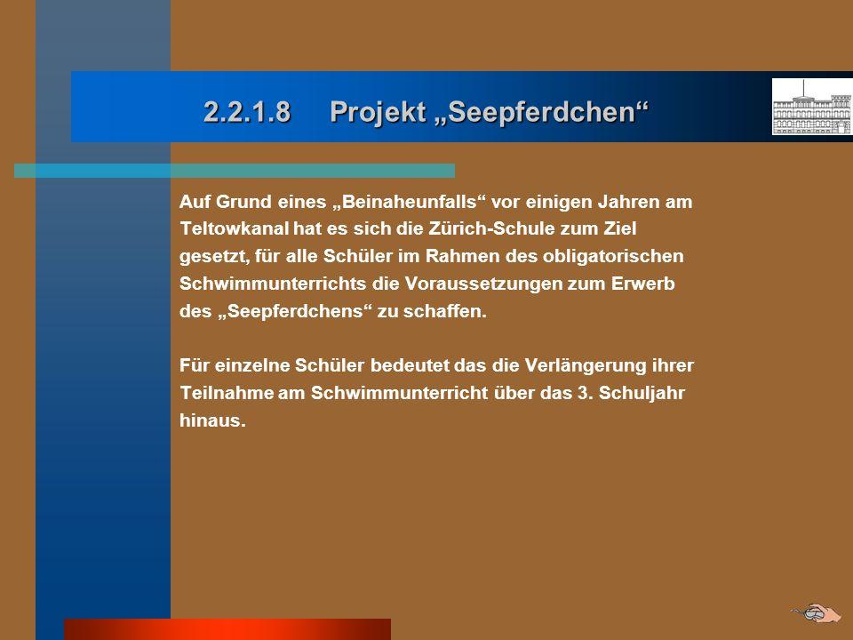 2.2.1.8 Projekt Seepferdchen Auf Grund eines Beinaheunfalls vor einigen Jahren am Teltowkanal hat es sich die Zürich-Schule zum Ziel gesetzt, für alle