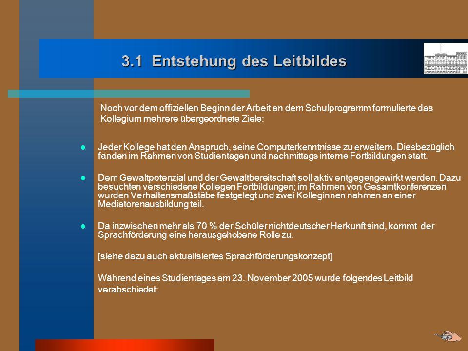 3.1 Entstehung des Leitbildes Noch vor dem offiziellen Beginn der Arbeit an dem Schulprogramm formulierte das Kollegium mehrere übergeordnete Ziele: J