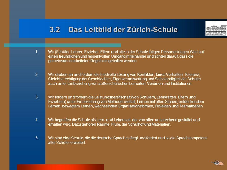 3.2 Das Leitbild der Zürich-Schule 1. Wir (Schüler, Lehrer, Erzieher, Eltern und alle in der Schule tätigen Personen) legen Wert auf einen freundliche