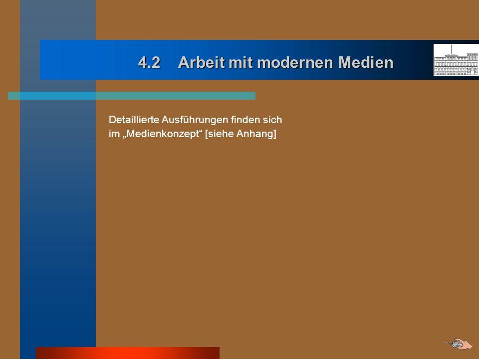 4.2 Arbeit mit modernen Medien 4.2 Arbeit mit modernen Medien Detaillierte Ausführungen finden sich im Medienkonzept [siehe Anhang]