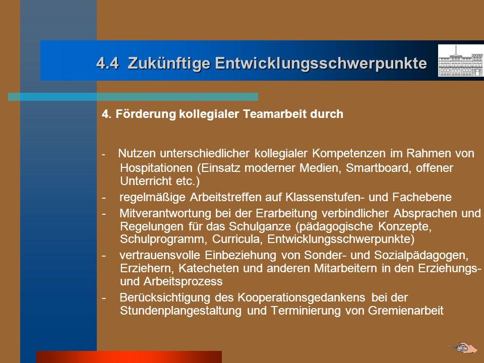 4.4 Zukünftige Entwicklungsschwerpunkte 4.4 Zukünftige Entwicklungsschwerpunkte 4. Förderung kollegialer Teamarbeit durch - Nutzen unterschiedlicher k
