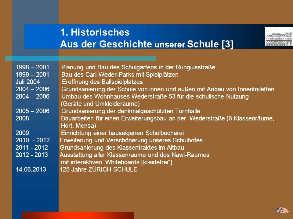 1. Historisches Aus der Geschichte unserer Schule [3] 1998 – 2001 Planung und Bau des Schulgartens in der Rungiusstraße 1999 – 2001 Bau des Carl-Weder