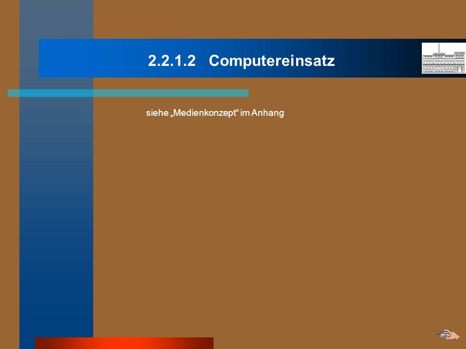 2.2.1.2 Computereinsatz siehe Medienkonzept im Anhang