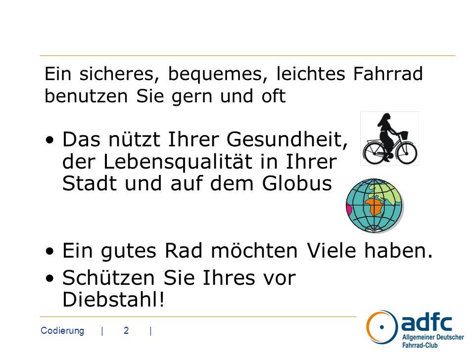 Codierung | 2 | Ein sicheres, bequemes, leichtes Fahrrad benutzen Sie gern und oft Das nützt Ihrer Gesundheit, der Lebensqualität in Ihrer Stadt und a