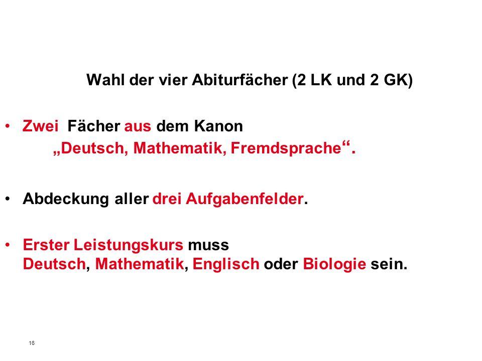 16 Wahl der vier Abiturfächer (2 LK und 2 GK) Zwei Fächer aus dem Kanon Deutsch, Mathematik, Fremdsprache. Abdeckung aller drei Aufgabenfelder. Erster