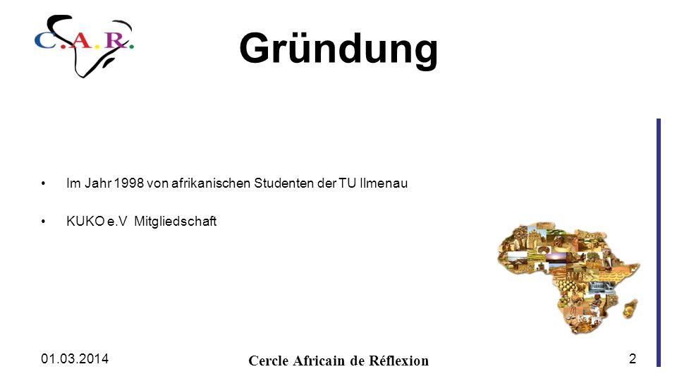 Gründung Im Jahr 1998 von afrikanischen Studenten der TU Ilmenau KUKO e.V Mitgliedschaft Cercle Africain de Réflexion 01.03.20142
