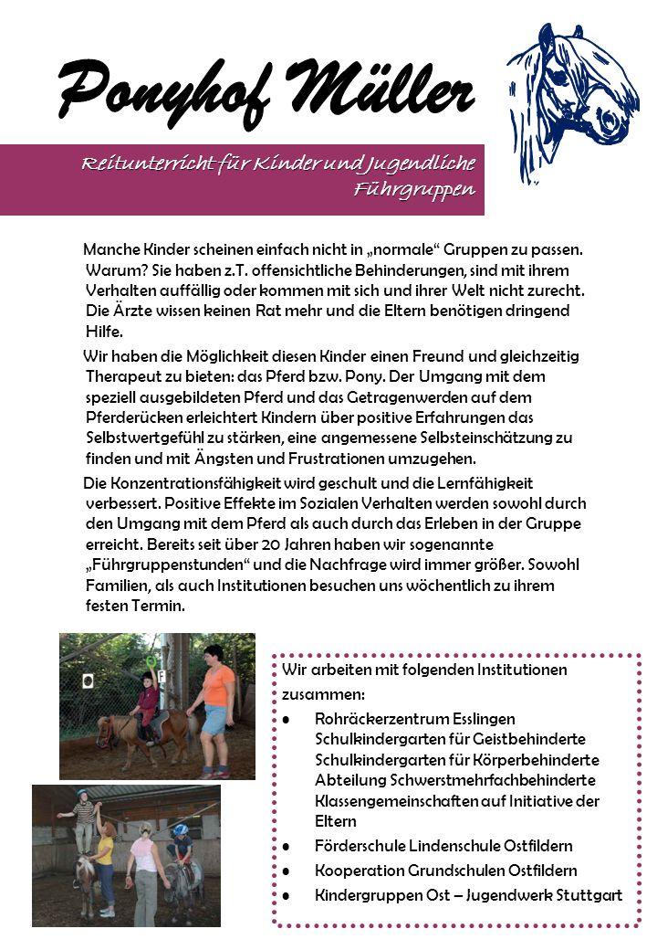 Bereits seit über 20 Jahren beteiligt sich der Ponyhof Müller am Rosenmontagsumzug in Stuttgart / Sillenbuch – ein Umzug der etwas anderen Art: Hier bilden die Kinder den Umzug, und die Zuschauer am Rand werfen die Bonbons.