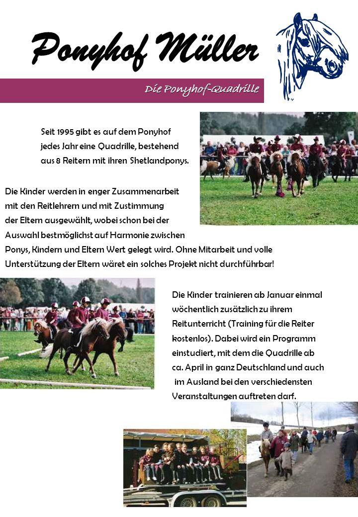 Seit 1995 gibt es auf dem Ponyhof jedes Jahr eine Quadrille, bestehend aus 8 Reitern mit ihren Shetlandponys. Die Ponyhof-Quadrille Die Kinder werden