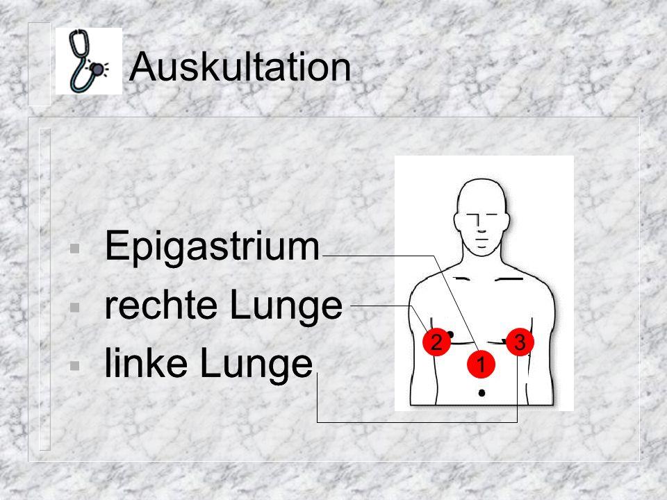 Suprarenin ® für e.b.-Applikation 20ml Spritze – 3ml Suprarenin ® – 7ml NaCl – 10ml Luft während Applikation keine Herzmassage hygienisches Arbeiten (Katheter) Hyperventilation nach Verabreichung anschließend 10 Zyklen HLW