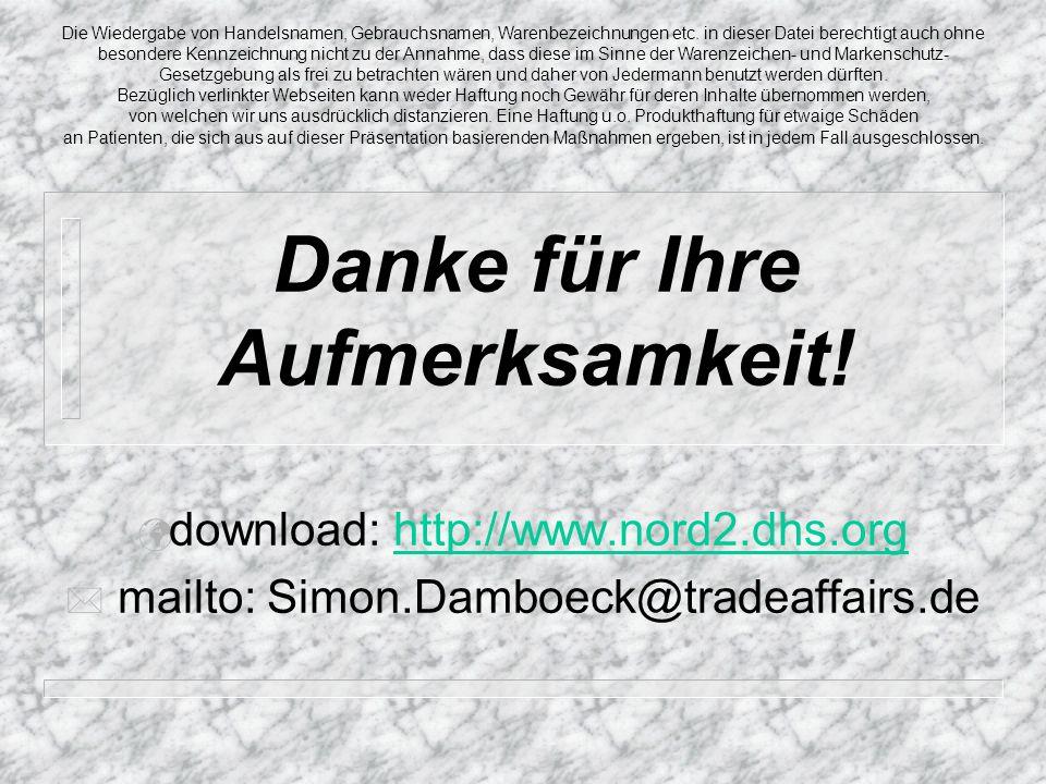 Danke für Ihre Aufmerksamkeit! download: http://www.nord2.dhs.orghttp://www.nord2.dhs.org mailto: Simon.Damboeck@tradeaffairs.de Die Wiedergabe von Ha