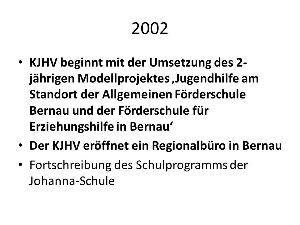 2002 KJHV beginnt mit der Umsetzung des 2- jährigen Modellprojektes Jugendhilfe am Standort der Allgemeinen Förderschule Bernau und der Förderschule f