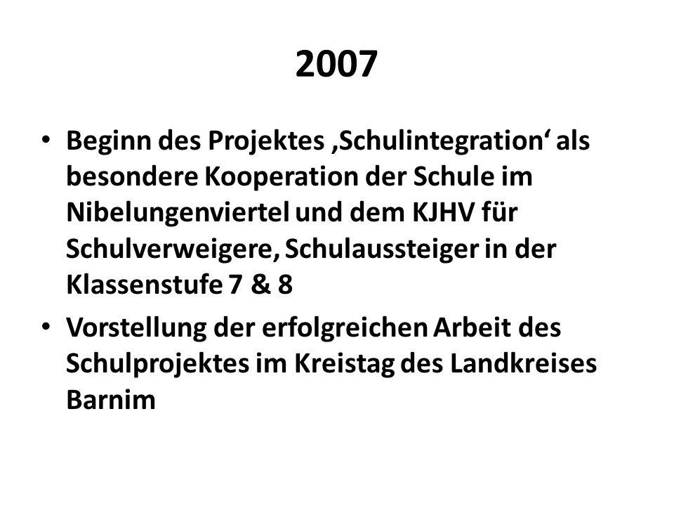 2007 Beginn des Projektes Schulintegration als besondere Kooperation der Schule im Nibelungenviertel und dem KJHV für Schulverweigere, Schulaussteiger
