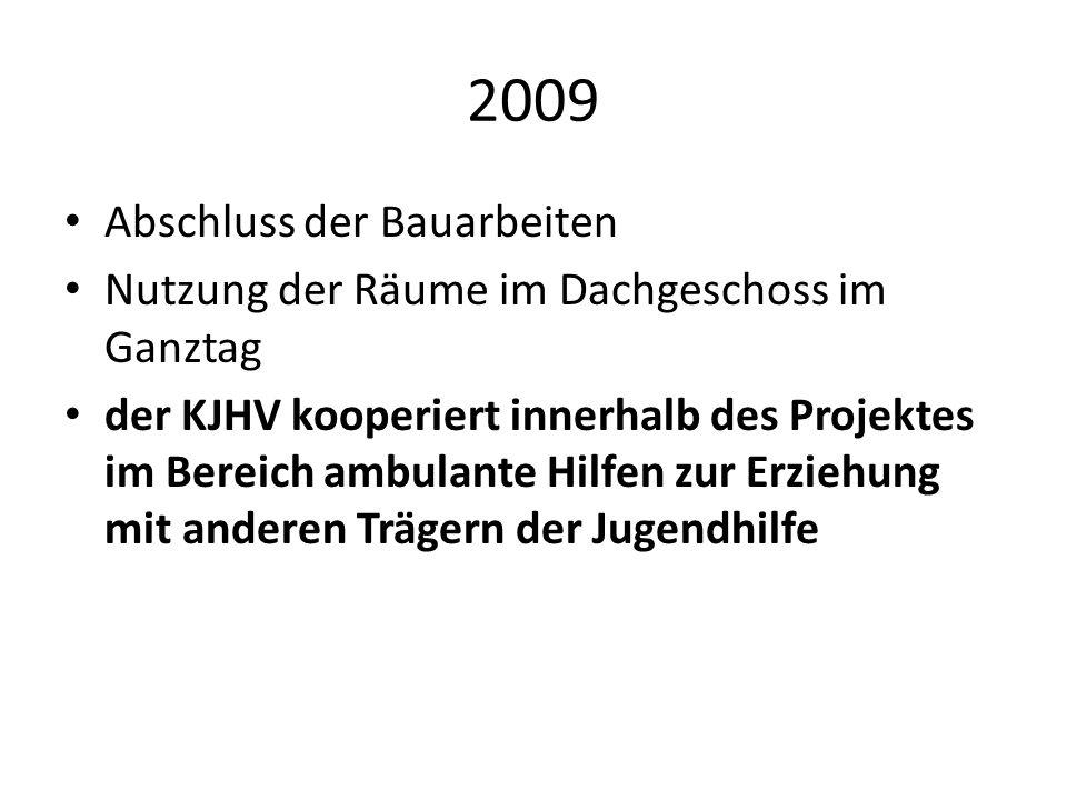 2009 Abschluss der Bauarbeiten Nutzung der Räume im Dachgeschoss im Ganztag der KJHV kooperiert innerhalb des Projektes im Bereich ambulante Hilfen zu