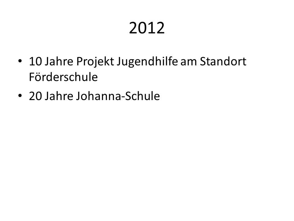 2012 10 Jahre Projekt Jugendhilfe am Standort Förderschule 20 Jahre Johanna-Schule