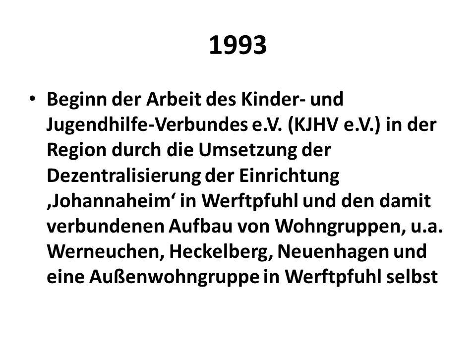 1993 Beginn der Arbeit des Kinder- und Jugendhilfe-Verbundes e.V. (KJHV e.V.) in der Region durch die Umsetzung der Dezentralisierung der Einrichtung