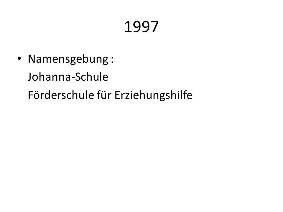 1997 Namensgebung : Johanna-Schule Förderschule für Erziehungshilfe