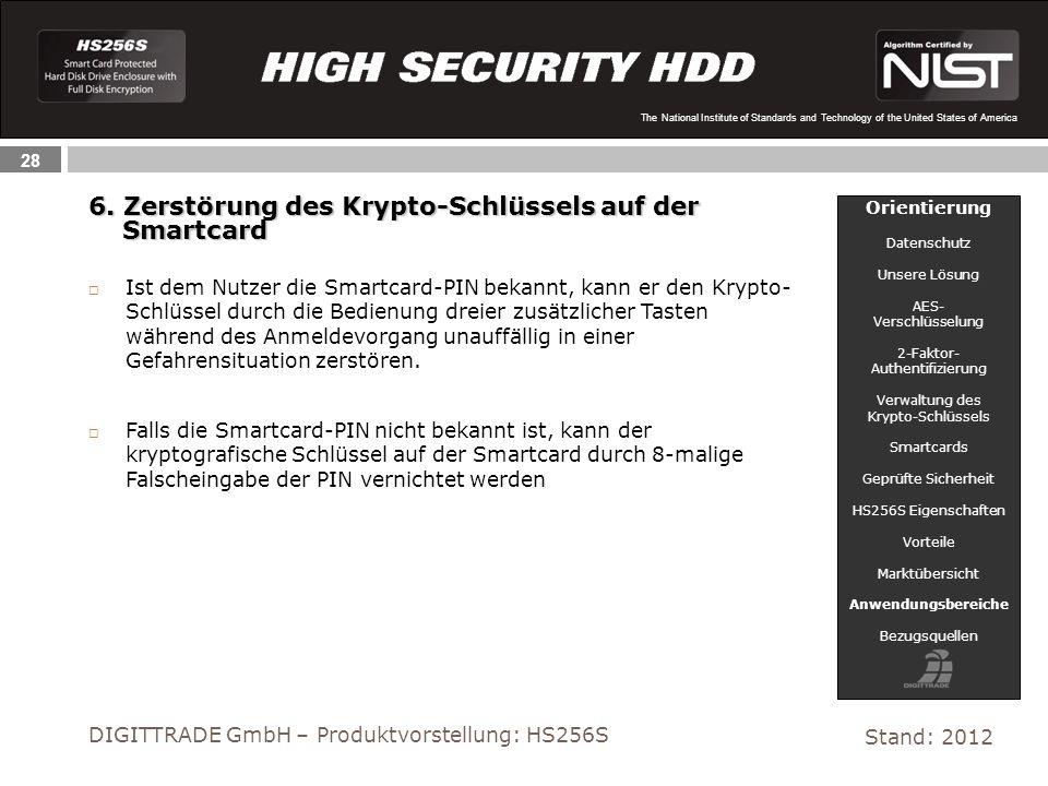 28 The National Institute of Standards and Technology of the United States of America 6. Zerstörung des Krypto-Schlüssels auf der Smartcard Smartcard