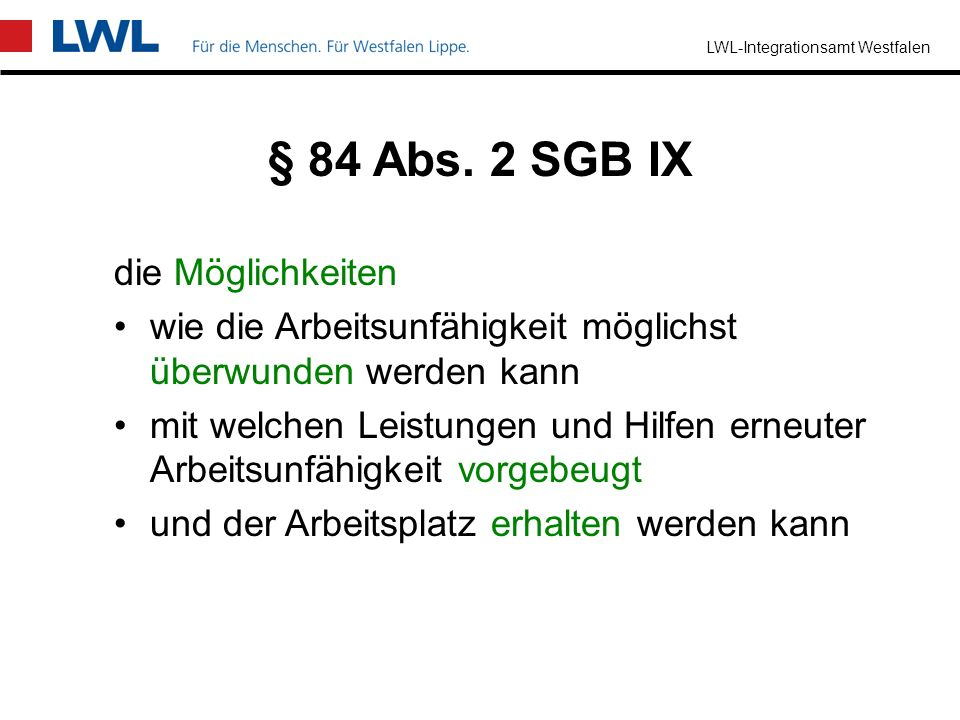 LWL-Integrationsamt Westfalen § 84 Abs.