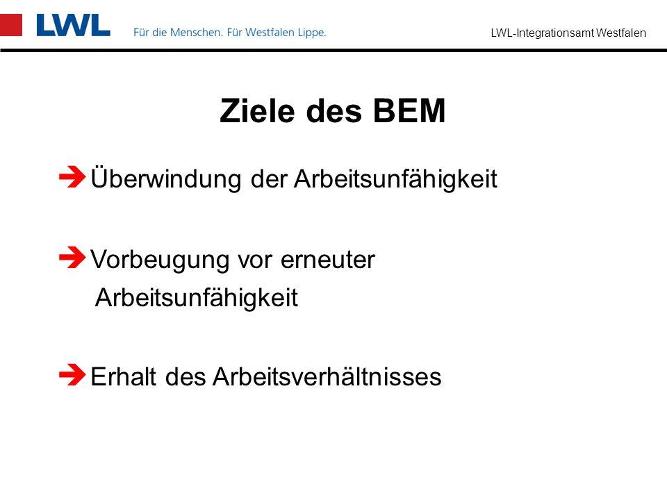 LWL-Integrationsamt Westfalen § 84 Abs. 2 SGB IX die Möglichkeiten wie die Arbeitsunfähigkeit möglichst überwunden werden kann mit welchen Leistungen