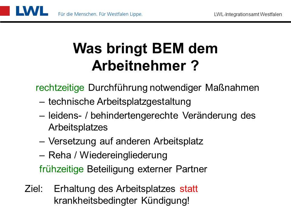 LWL-Integrationsamt Westfalen Was bringt BEM für den Arbeitgeber ? Lohnfortzahlungskosten sparen Lohnkosten für Vertretungskräfte sparen Qualitätsstan