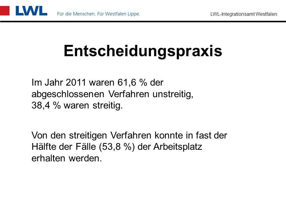 LWL-Integrationsamt Westfalen Neueingangene Anträge auf Zustimmung zur Kündigung