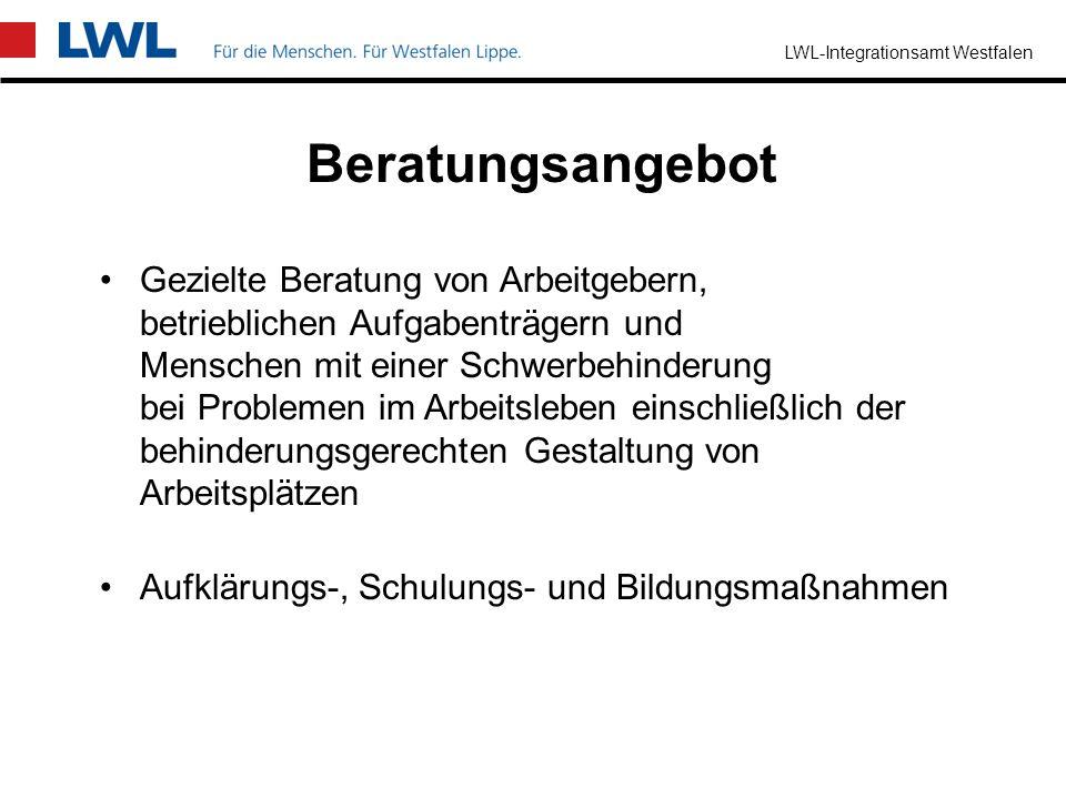 LWL-Integrationsamt Westfalen Welches Ziel wird verfolgt? Menschen mit einer Schwerbehinderung sollen in ihrer sozialen Stellung nicht absinken sollen