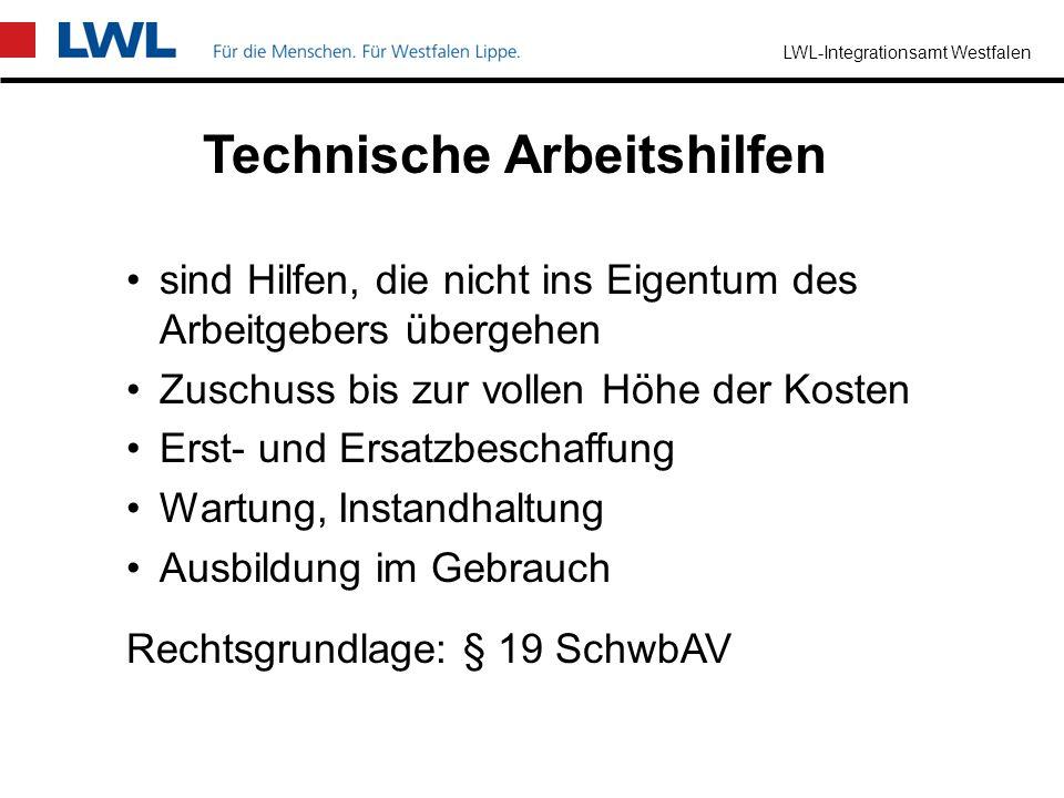 LWL-Integrationsamt Westfalen Begleitende Hilfe im Arbeitsleben Ziel –Ausgleich behinderungsbedingter Nachteile im Arbeitsleben –für Arbeitgeber und M