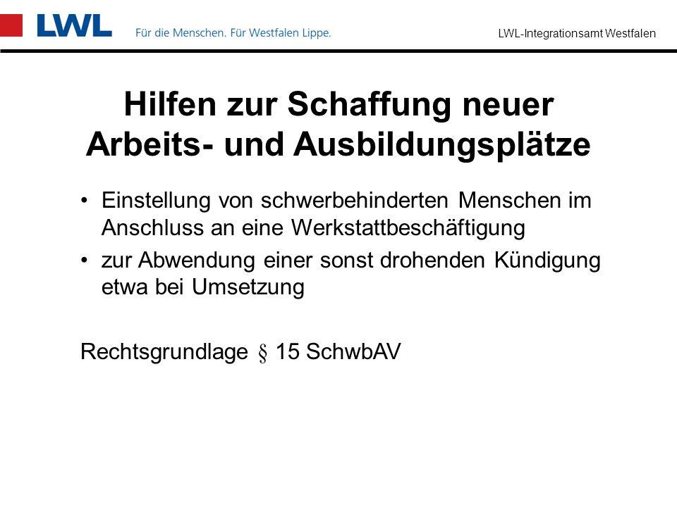 LWL-Integrationsamt Westfalen Einstellung von schwerbehinderten Menschen, durch einen Arbeitgeber ohne oder mit erfüllter Beschäftigungspflicht Einste
