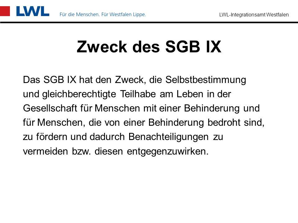 LWL-Integrationsamt Westfalen Grundzüge des SGB IX Das Sozialgesetzbuch IX (SGB IX) enthält die Vorschriften für die Rehabilitation und Teilhabe von M