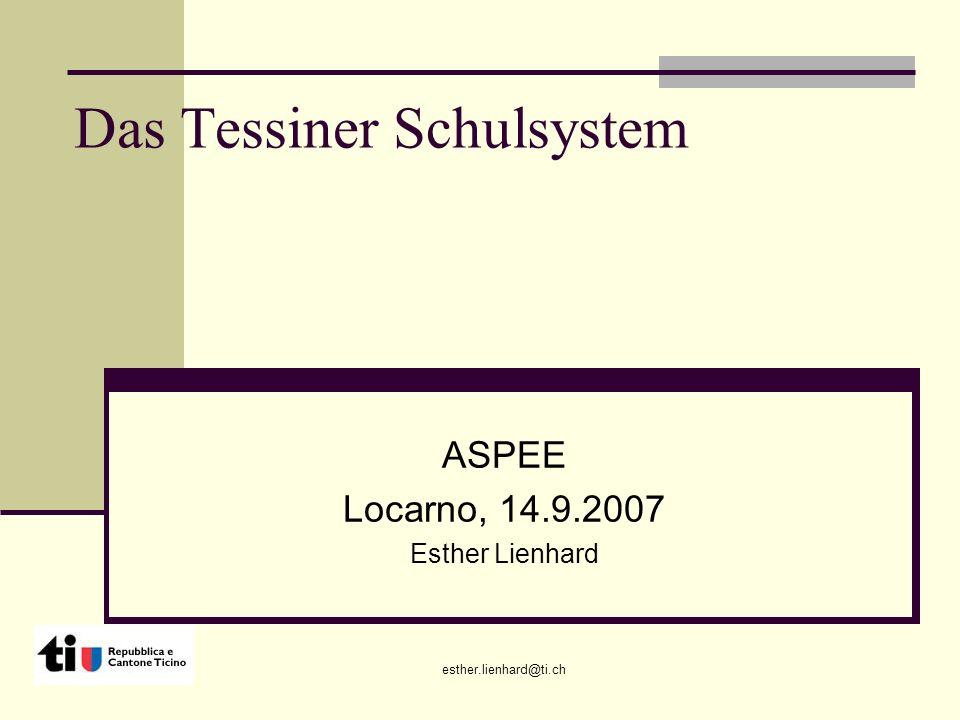 esther.lienhard@ti.ch Das Tessiner Schulsystem ASPEE Locarno, 14.9.2007 Esther Lienhard