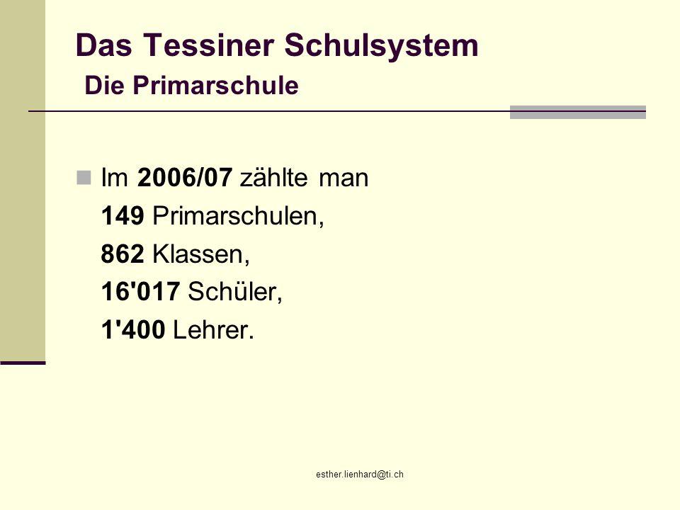 esther.lienhard@ti.ch Das Tessiner Schulsystem Die Primarschule Im 2006/07 zählte man 149 Primarschulen, 862 Klassen, 16'017 Schüler, 1'400 Lehrer.