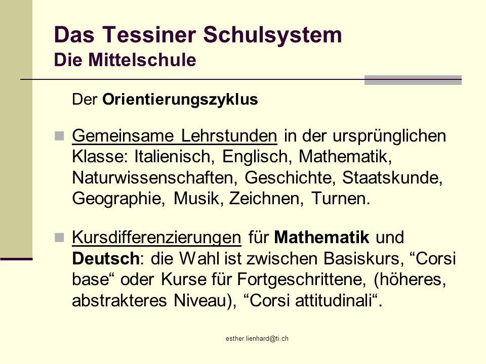 esther.lienhard@ti.ch Das Tessiner Schulsystem Die Mittelschule Der Orientierungszyklus Gemeinsame Lehrstunden in der ursprünglichen Klasse: Italienis