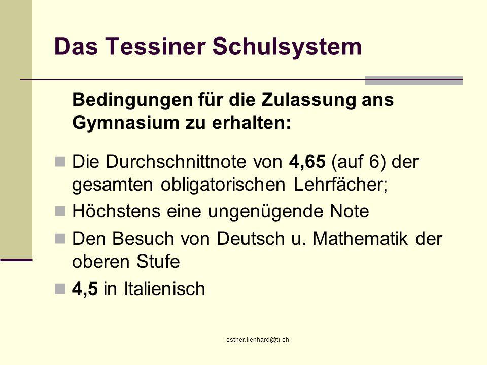esther.lienhard@ti.ch Das Tessiner Schulsystem Bedingungen für die Zulassung ans Gymnasium zu erhalten: Die Durchschnittnote von 4,65 (auf 6) der gesa