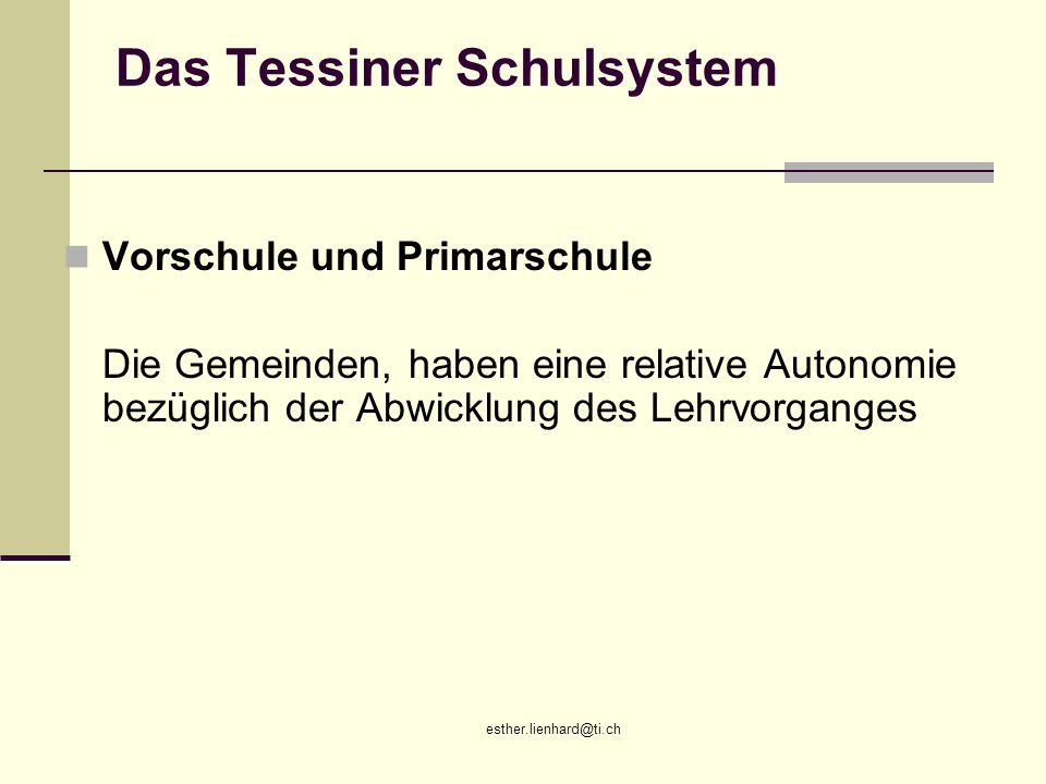 esther.lienhard@ti.ch Das Tessiner Schulsystem Vorschule und Primarschule Die Gemeinden, haben eine relative Autonomie bezüglich der Abwicklung des Le