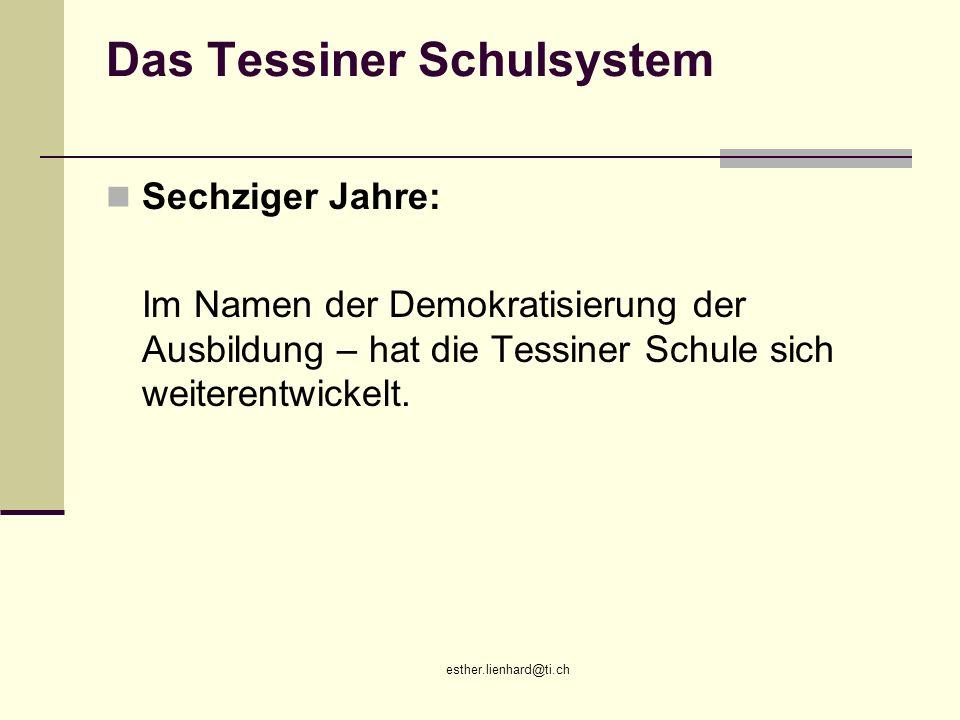esther.lienhard@ti.ch Das Tessiner Schulsystem Sechziger Jahre: Im Namen der Demokratisierung der Ausbildung – hat die Tessiner Schule sich weiterentw